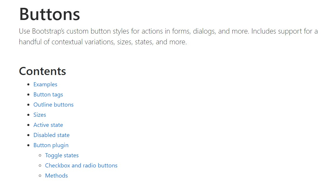 Bootstrap buttons official documentation
