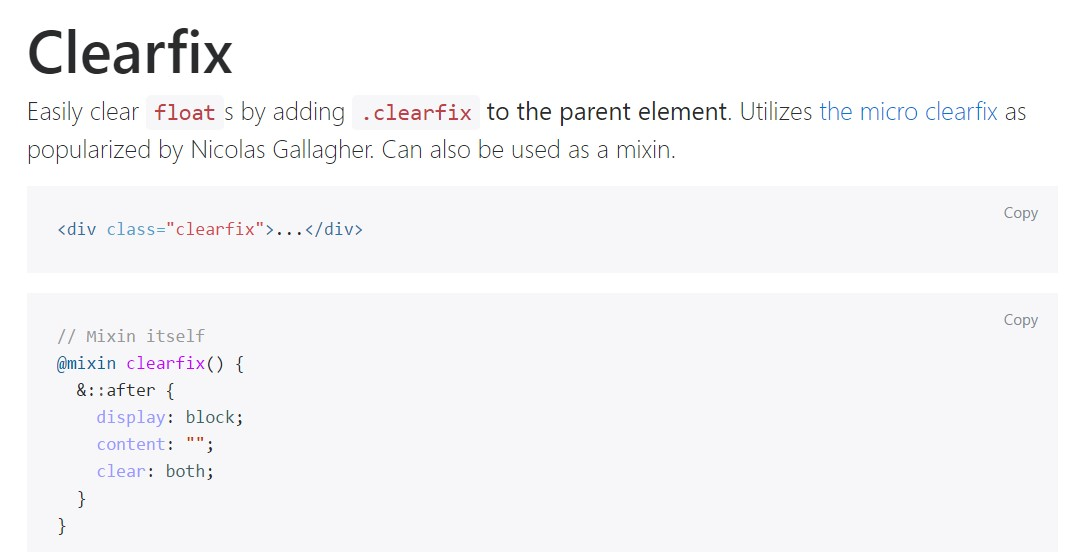 Bootstrap clearfix  authoritative documentation