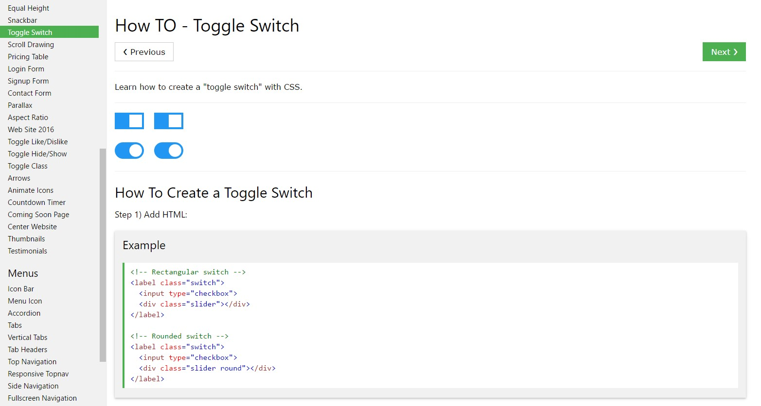 The best ways to create Toggle Switch