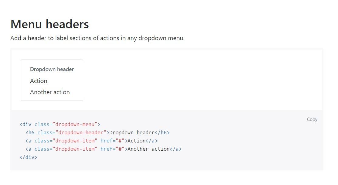 Bootstrap Header:  authoritative documentation