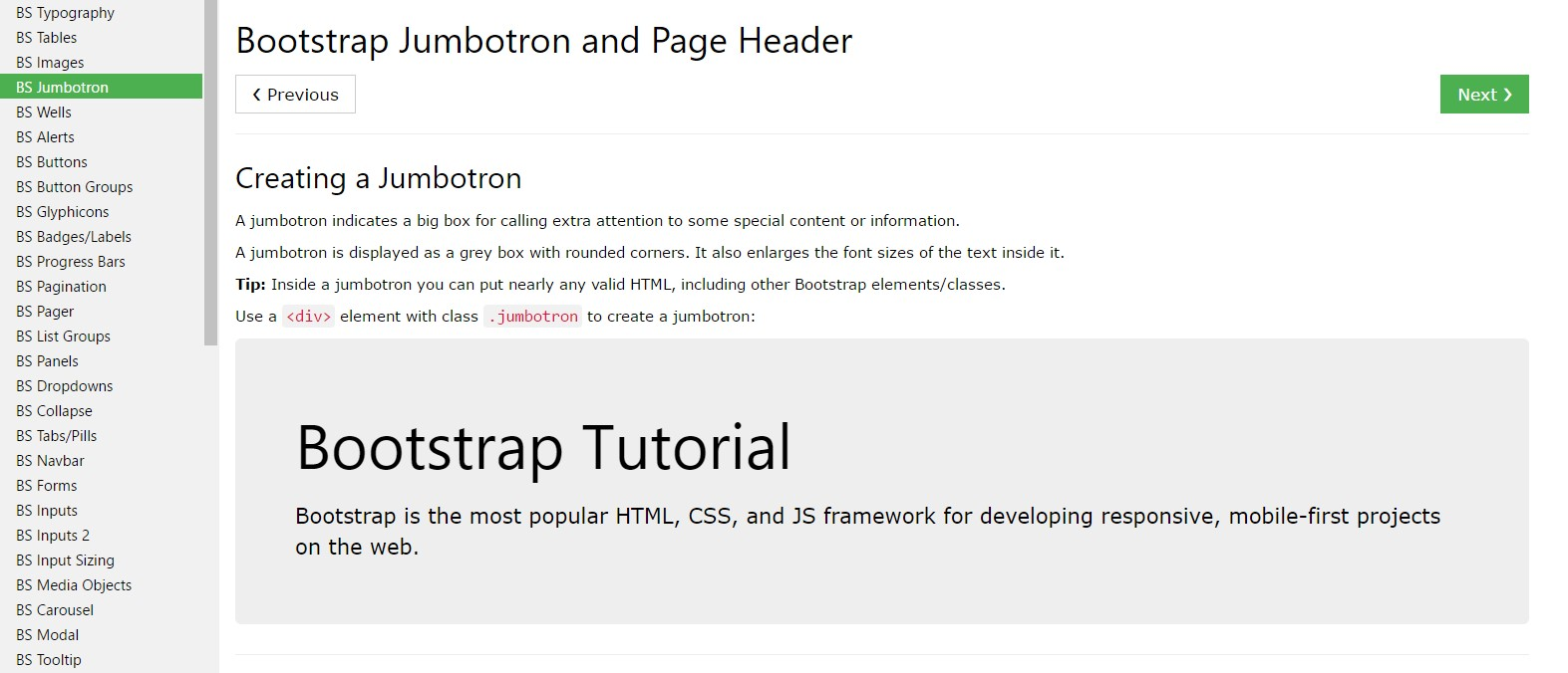 Bootstrap Jumbotron  training