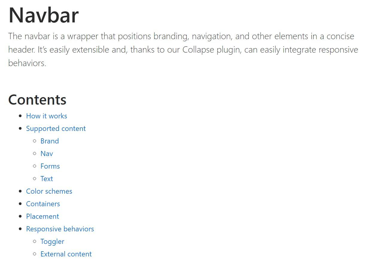 Bootstrap Navbar  formal  information